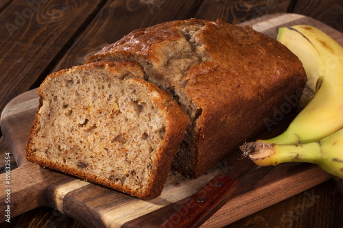 Fotografie, Obraz  Sliced loaf of banana nut bread