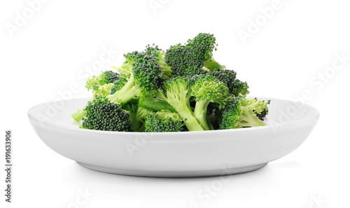 broccoli in plate on white background