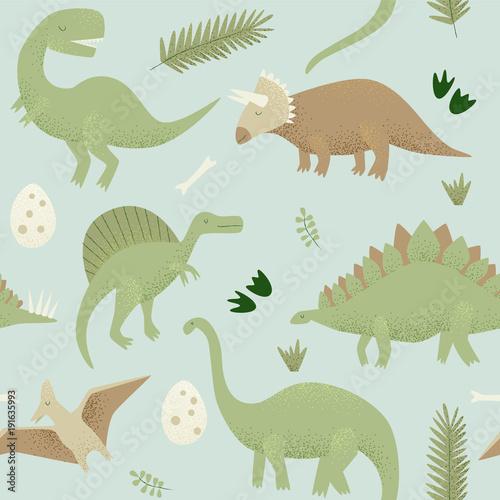 Materiał do szycia Dinozaury wektor wzór, tyrannosaurus rex