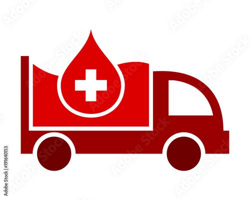 medyczne kropelki krwi czerwony boxcar transportu pojazdu jazdy jazdy obrazu wektor ikona