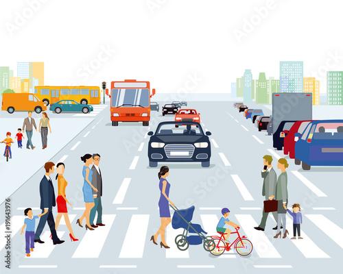 große Stadt mit Straßenverkehr und Fußgänger, Illustration Fototapeta