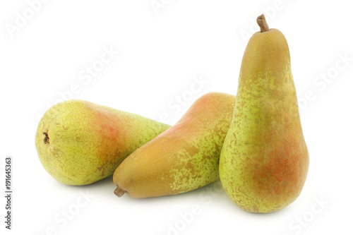 three fresh abate pears on a white background Wallpaper Mural