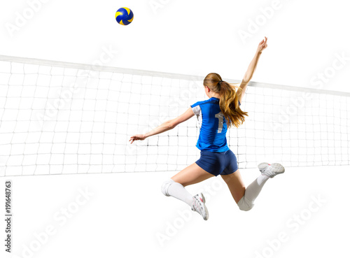Woman volleyball player isolated (with all and net ver)