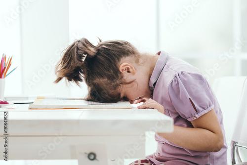 Fotografie, Obraz  Lazy student girl at home