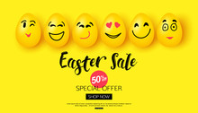 Easter Sale Background With Cartoon Smiling Eggs Faces For Banner Poster Vector Illustration