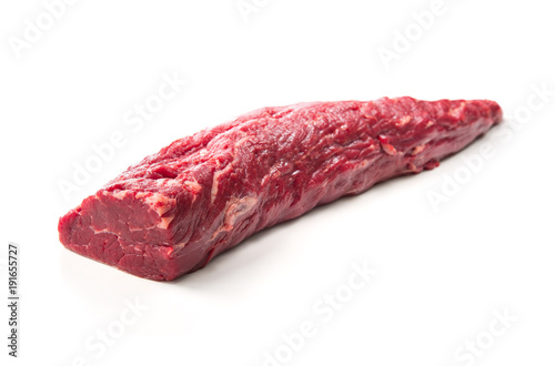 Whole piece of tenderloin ready to cook isolated on white background