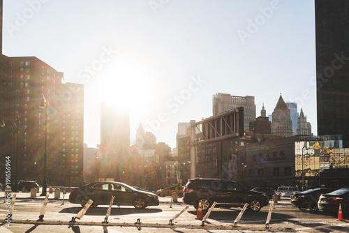 In de dag Milan New york street with sun.