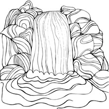 Waterfall Coloring Page For Ch...