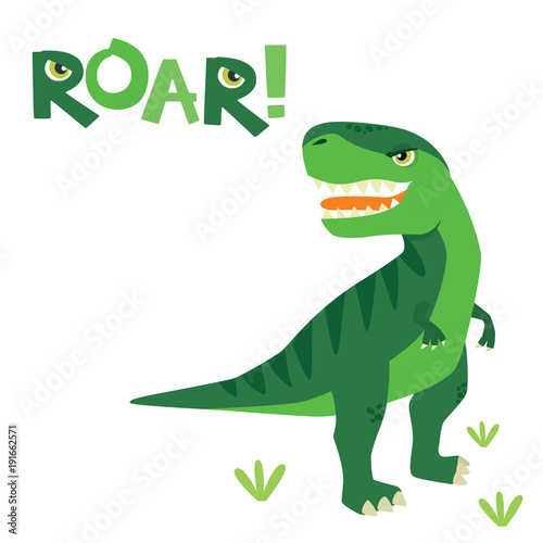 Photo  Cute Little Scary T Rex Dinosaur with Roar Lettering Isolated on White Vector Il