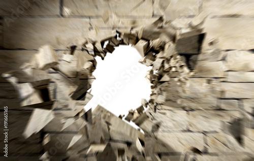 Valokuva  Imagen conceptual de agujero y grietas en muro o pared de cemento