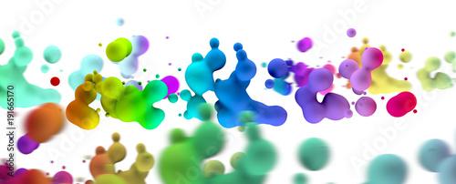 Valokuva  Fondo abstracto de gotas de liquido de colores sobre fondo blanco