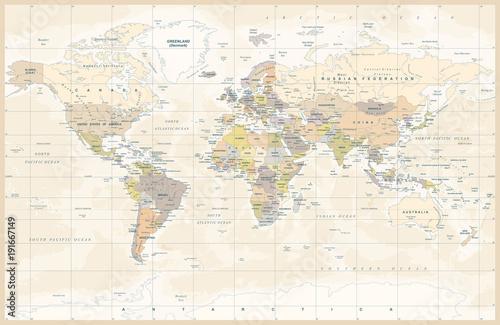 Obraz Polityczna mapa świata - fototapety do salonu