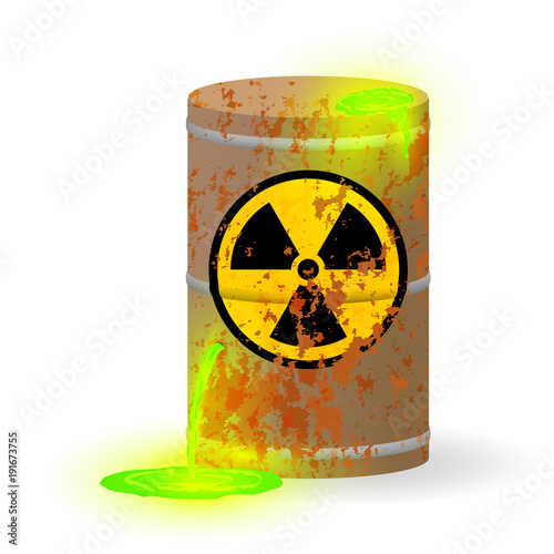 Fotografie, Obraz  Chemical radioactive waste in a rusty barrel