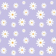 Chamomile On A Light Purple Pastel Background Pattern Seamless Vector