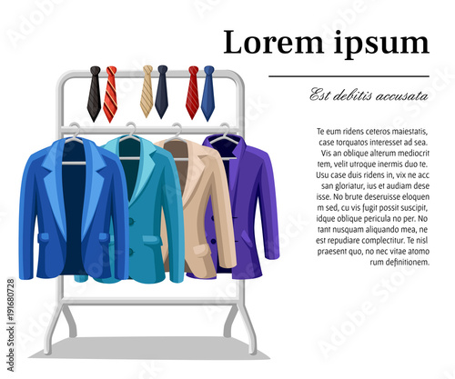 Fotografija  Business suit mens jacket four jackets of different colors and types blue green