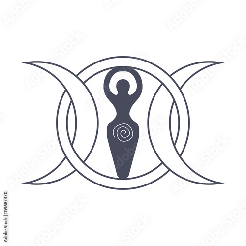 Fotografie, Obraz Vector illustration for Wiccan community: Spiral Goddess also known as Luna or Tripple Goddess symbol