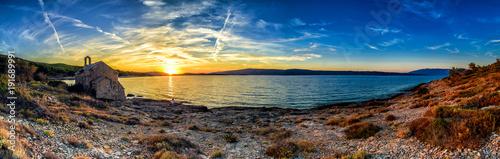 Poster Panoramafoto s Beautiful landscape of Croatia, Croatia coast, sea and mountains. Panorama