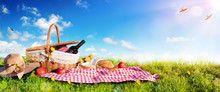 Picnic - Basket With Bread And...