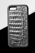 Exclusive Black Crocodile Alligator Leather Case For Smartphone.Luxury Case. On Black And White Background