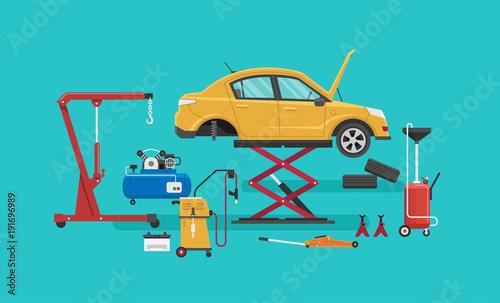 Auto Repair Shop. Vector illustration