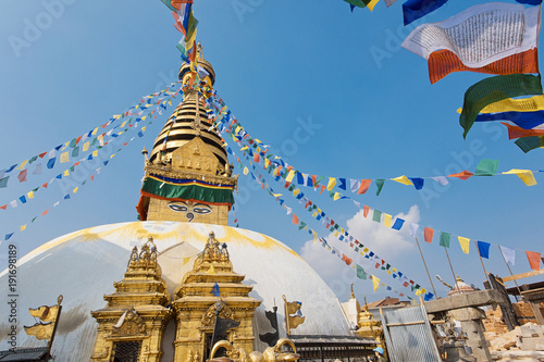 Foto op Canvas Nepal Swoyambhu Stupa Kathmandu Nepal praying flags