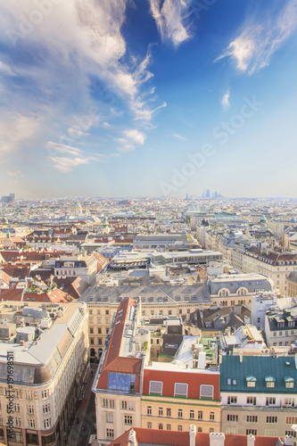 View of the city from the observation deck of St. Stephen's Cathedral in Vienna, Austria © marinadatsenko