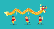 The Chinese Dragon Dance. Vect...