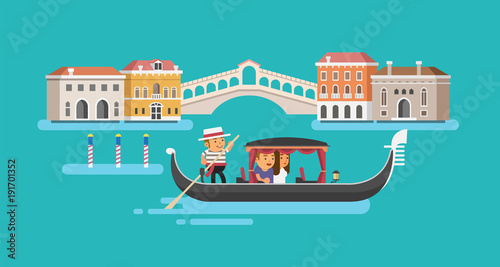 Fotografie, Tablou Gondola on Canal Grande in Venice. Vector illustration