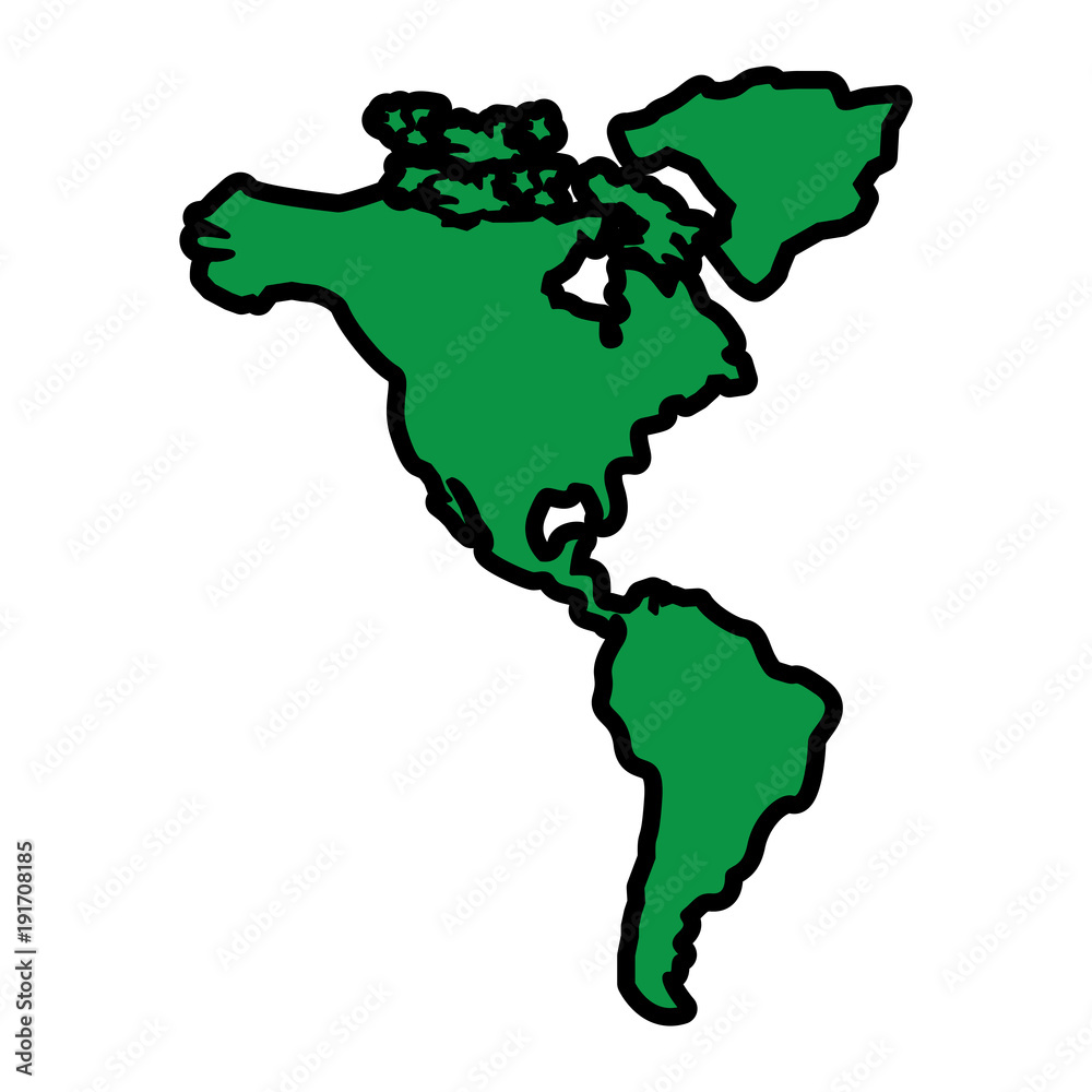 north and south america map continent vector illustration green ...