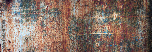 Photo sur Toile Metal rusty metal texture with flaking paint. panoramic background of old iron and rust