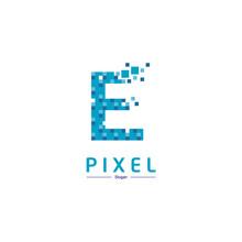 Letter E Pixel Logo Design