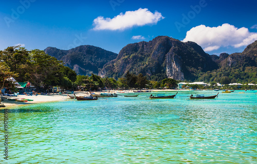 Photo Stands Caribbean Panorama of tropical islands Phi Phi Don, Thailand