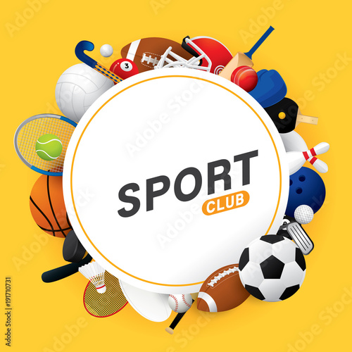 Fotografija  Vector sport ball and equipment  background.