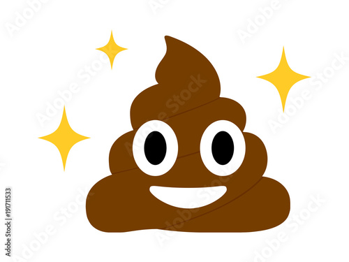 Fototapeta The isolated Brown dung with eye and mouth flat icon