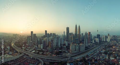 Photo Stands Kuala Lumpur Panorama aerial view in the middle of Kuala Lumpur cityscape skyline , early morning sunrise scene, Malaysia .