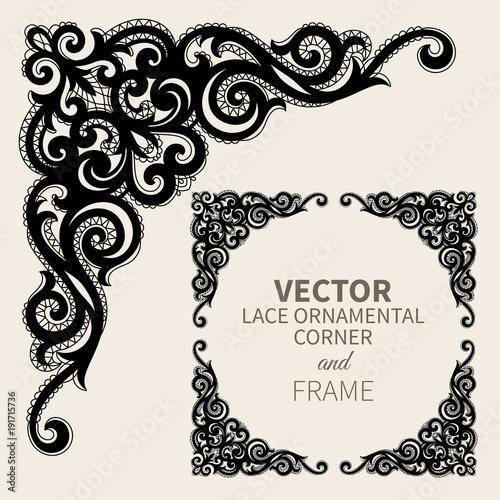 Fototapeta Vector ornamental corner frame obraz