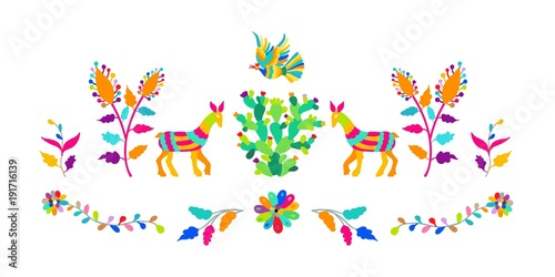 Door stickers Boho Style Vector folk Mexican Otomi Style embroidery Pattern