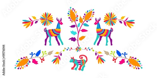 Vector folk Mexican Otomi Style embroidery Pattern Canvas Print