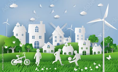 Fotografía  Kids playing football in the park, eco green city, save the planet and energy concept, flat-style vector illustration