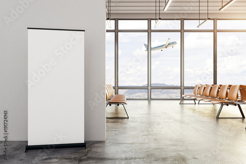 Poster Aeroport Modern airport interior with blank ad stand