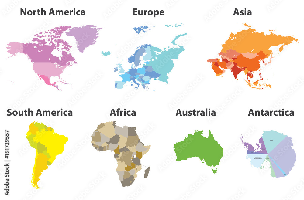Fototapety, obrazy: vector set of all continents political maps isolated on white background
