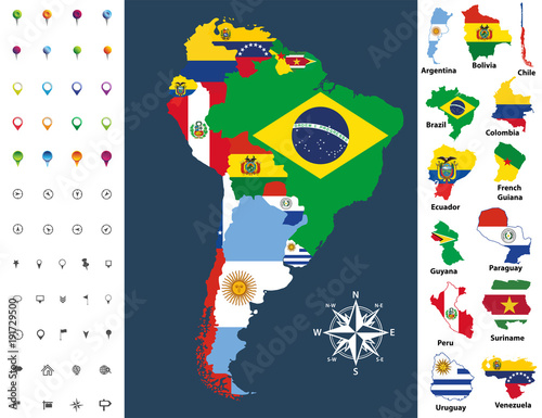 Fotografía  South America map mixed with countries flag. Vector illustration