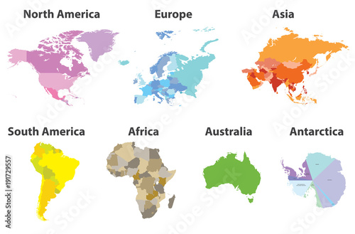 vector set of all continents political maps isolated on white background