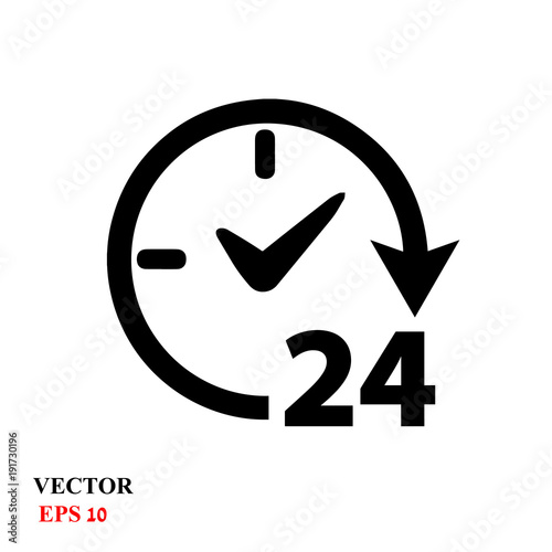 Valokuva  Open 24 hours vector icon