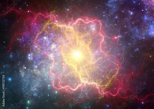 Fotografiet Exploding supernova forming  a new nebula.