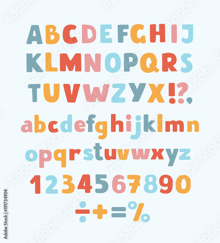 Cuadros en Lienzo Multicolored kids Vector Font, letters, numbers and orthographic symbols