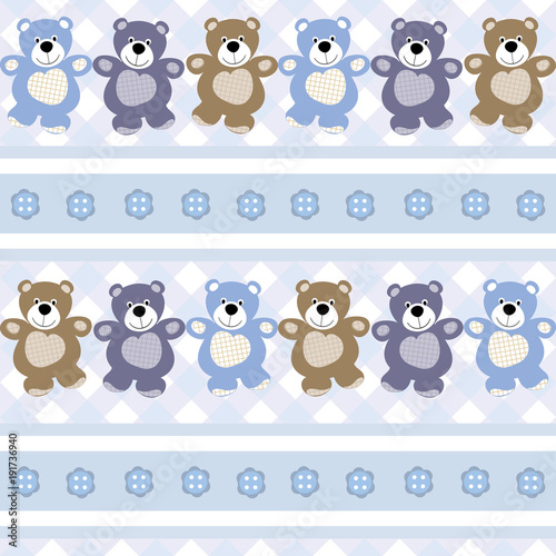 vector seamless children`s pattern background teddy bears