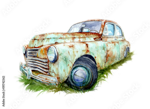 watercolor-old-car