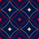 Geometric blue seamless pattern. Red and beige print  - 191742978