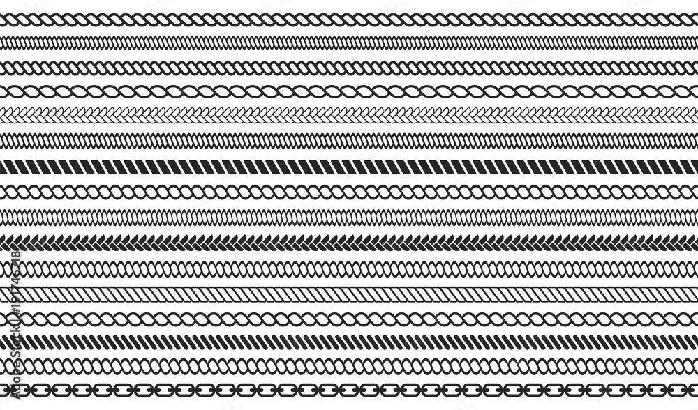 Fototapety, obrazy: Set of rope and chain brushes. Seamless nautical rope and chain stripes isolated on background